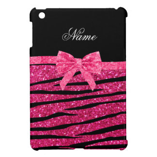 Custom name hot pink glitter zebra stripes bow iPad mini covers
