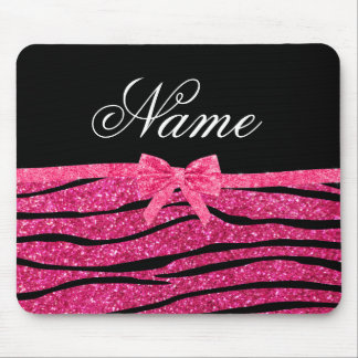 Custom name hot pink glitter zebra stripes bow mouse mat
