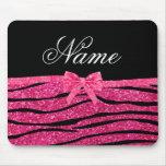 Custom name hot pink glitter zebra stripes bow mousemats