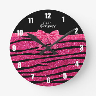 Custom name hot pink glitter zebra stripes bow round clock