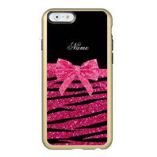 Custom name hot pink glitter zebra stripes bow incipio feather® shine iPhone 6 case