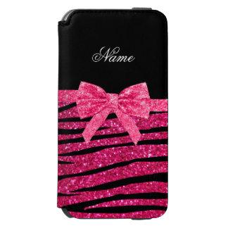 Custom name hot pink glitter zebra stripes bow incipio watson™ iPhone 6 wallet case
