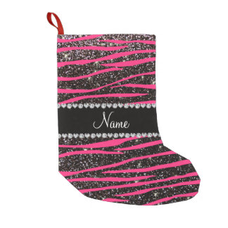 Custom name hot pink zebra stripes black glitter small christmas stocking
