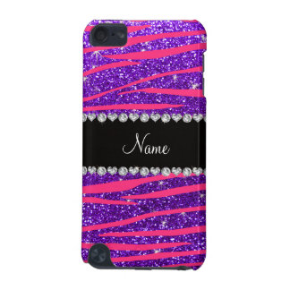 Custom name hot pink zebra stripes purple glitter iPod touch (5th generation) covers