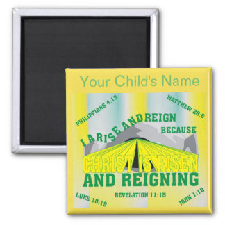 Custom Name I Arise and Reign Eng Square Magnet