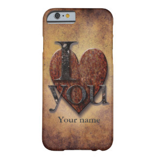 "Custom Name ""I Love You"" Steampunk Valentine Heart Barely There iPhone 6 Case"