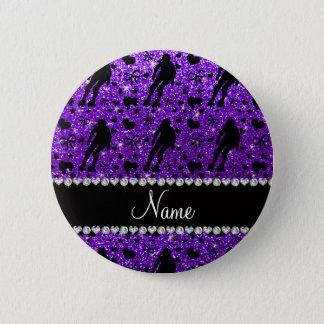 Custom name indigo glitter purple roller derby 6 cm round badge