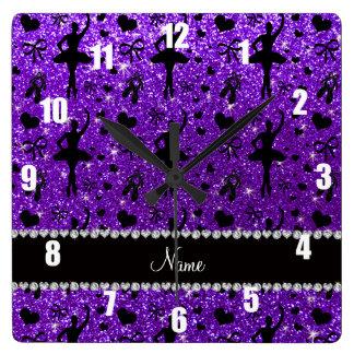 Custom name indigo purple glitter ballerinas square wall clock