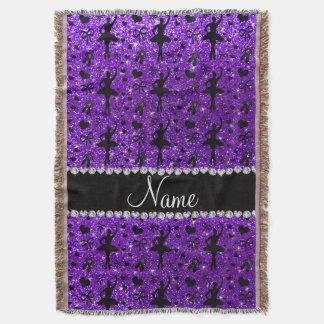 Custom name indigo purple glitter ballerinas throw blanket