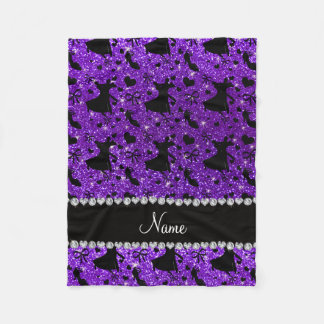 Custom name indigo purple glitter ballroom dancing fleece blanket