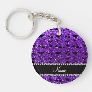 Custom name indigo purple glitter bikini bows Double-Sided round acrylic key ring