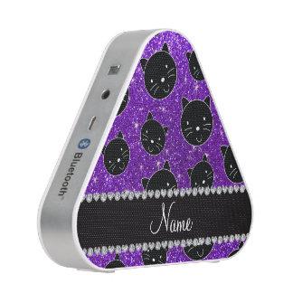 Custom name indigo purple glitter black cat faces