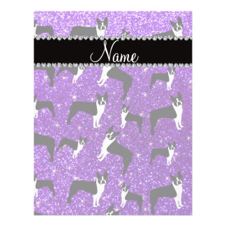 Custom name indigo purple glitter boston terrier flyers