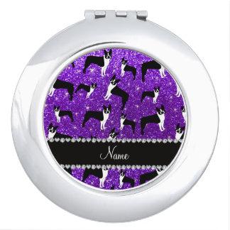 Custom name indigo purple glitter boston terrier mirror for makeup