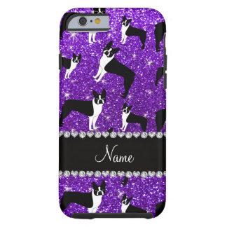 Custom name indigo purple glitter boston terrier tough iPhone 6 case
