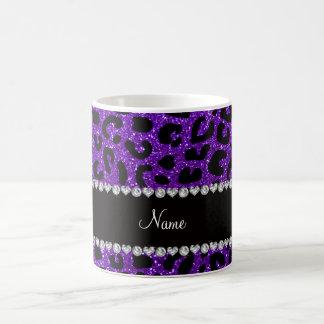 Custom name indigo purple glitter cheetah print coffee mug