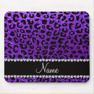 Custom name indigo purple glitter cheetah print mouse mat