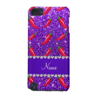 Custom name indigo purple glitter chili pepper iPod touch (5th generation) covers