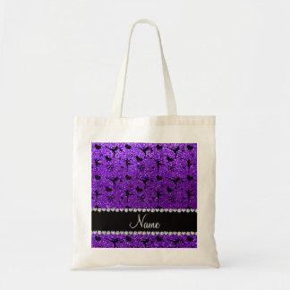 Custom name indigo purple glitter figure skating budget tote bag