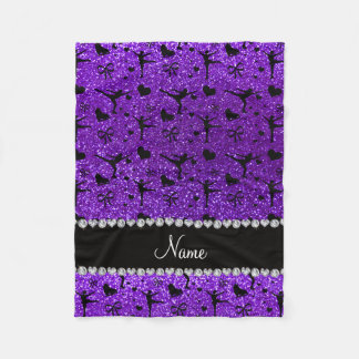 Custom name indigo purple glitter figure skating fleece blanket