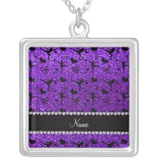 Custom name indigo purple glitter figure skating pendants