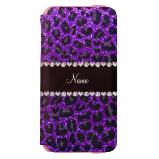 Custom name indigo purple glitter leopard print incipio watson™ iPhone 6 wallet case