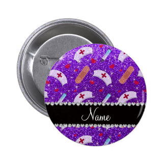 Custom name indigo purple glitter nurse hats heart 6 cm round badge