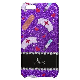 Custom name indigo purple glitter nurse hats heart cover for iPhone 5C