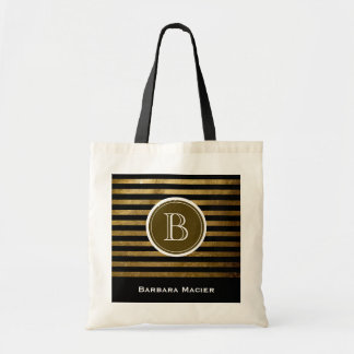 custom name/initial black golden monogram budget tote bag