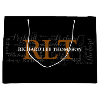 custom name & initials personalized typography large gift bag