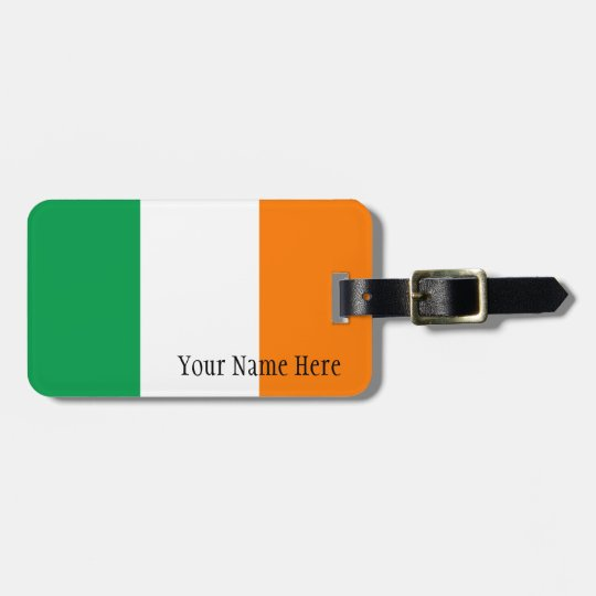 Custom Name Irish Flag Luggage Tag