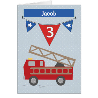 Custom Name Jacob 3rd Birthday Firetruck Card