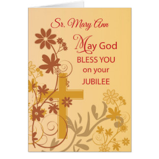 Custom Name, Jubilee Anniversary Nun Cross, Swirls Card