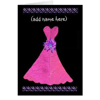 Custom Name - JUNIOR BRIDESMAID Card Pink Gown