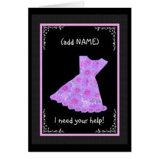 CUSTOM NAME Junior Bridesmaid LILAC PURPLE Dress Card