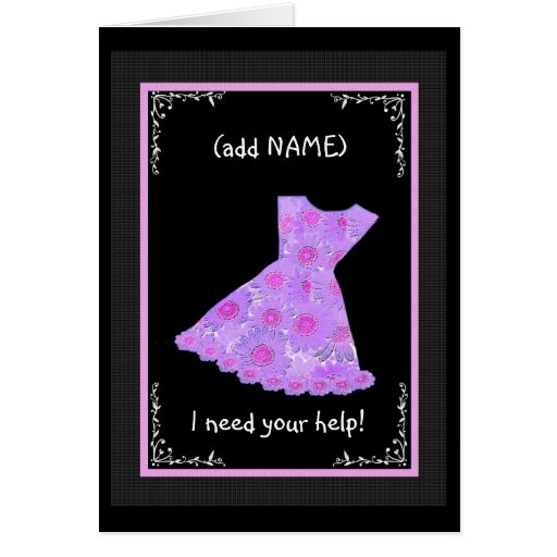 CUSTOM NAME Junior Bridesmaid LILAC PURPLE Dress Greeting Cards