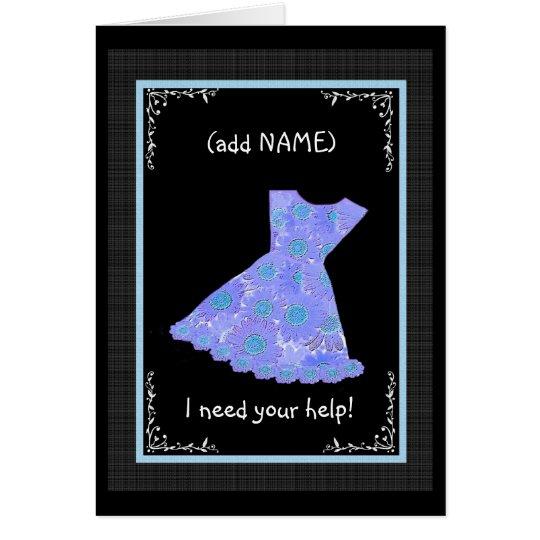 CUSTOM NAME Junior Bridesmaid PERWINKLE BLUE Dress Card