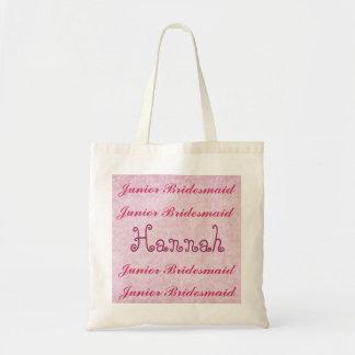 Custom Name JUNIOR BRIDESMAID Pink Damask Tote Bag