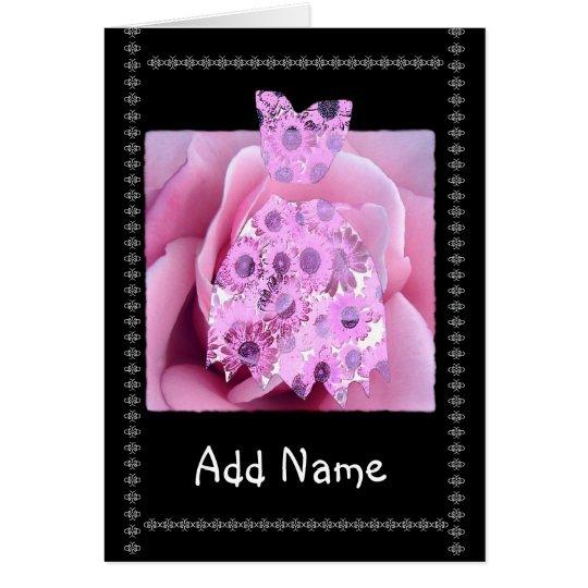 Custom Name Junior Bridesmaid PINK Flowered Dress Card