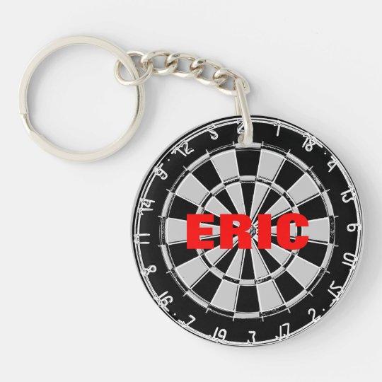Custom name keychain with dart board design
