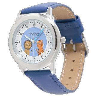 Custom name kids lion tiger watch