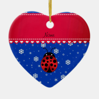 Custom name ladybug blue snowflakes red stripe christmas ornament