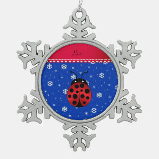 Custom name ladybug blue snowflakes red stripe pewter snowflake decoration