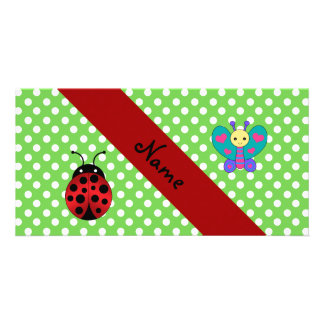 Custom name ladybug butterfly green polka dots personalized photo card