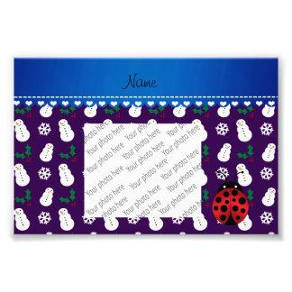 Custom name ladybug purple snowmen blue stripe photo print
