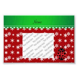 Custom name ladybug red snowflakes green stripe photo print
