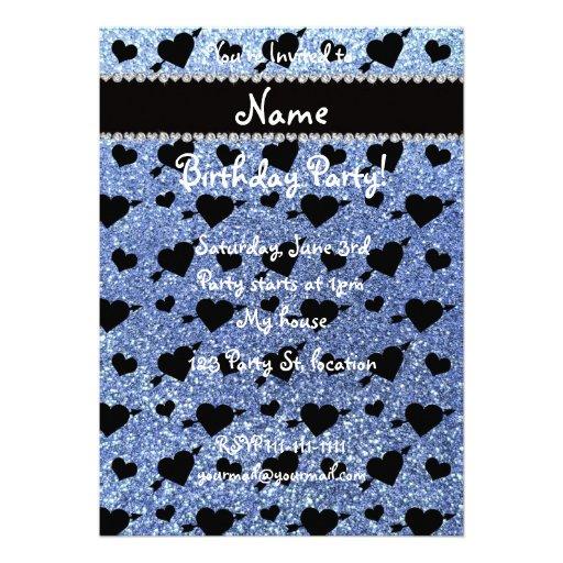 Custom name light blue glitter hearts arrows invites