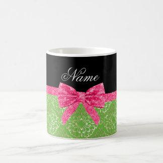 Custom name light green damask pink glitter bow coffee mug