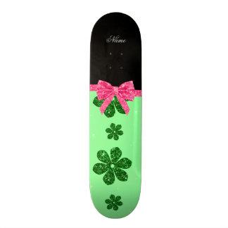 Custom name light green glitter flowers pink bow 18.1 cm old school skateboard deck