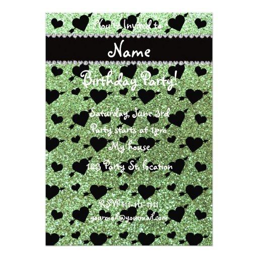 Custom name light green glitter hearts arrows invite